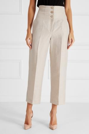 Льняные брюки Ruban. Цвет: бежевый