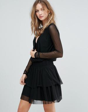 Gestuz Однотонное сетчатое платье Mesha. Цвет: черный