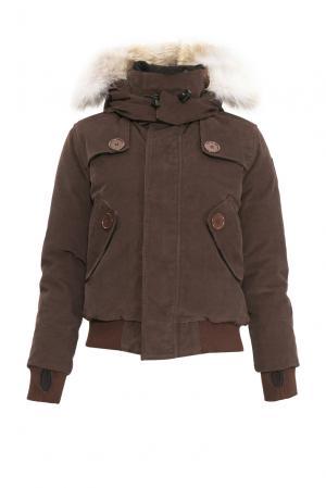 Велюровый пуховик с капюшоном и мехом койота 152462 Nobis. Цвет: коричневый
