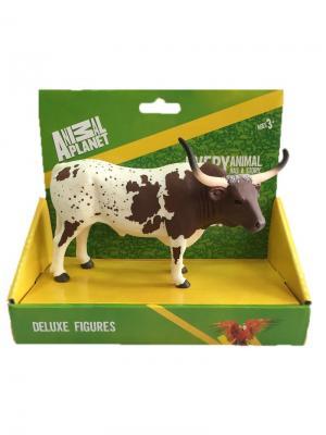 Фигурка Mojo (Animal Planet) в индивидуальной упаковке - Техасский бык породы лонгхорн (XL). Цвет: коричневый, бежевый, белый