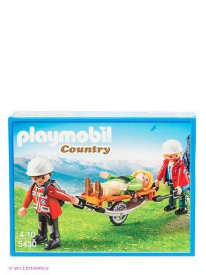 Спасатели с носилками Playmobil. Цвет: желтый, черный, зеленый, коричневый, красный