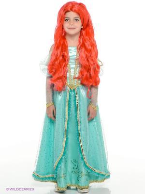 Карнавальный костюм Принцесса Ариэль Батик. Цвет: оранжевый, голубой