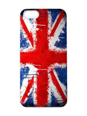Чехол для iPhone 5/5s Британский флаг в краске Арт. IP5-008 Chocopony. Цвет: красный, синий