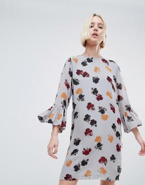 Ganni Платье с цветочным принтом. Цвет: темно-синий