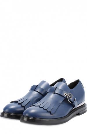 Кожаные ботинки с бахромой и ремешком Casadei. Цвет: темно-синий