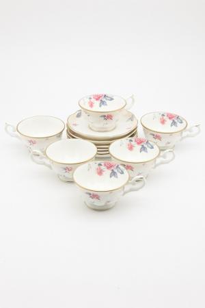 Н-р 6 чайных пар 180мл Венус Royal Bone China. Цвет: розовый