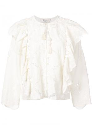 Ажурная блузка с оборками Sea. Цвет: белый