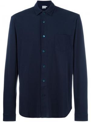 Рубашка из пике Sunspel. Цвет: синий