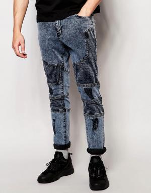 Systvm Байкерские джинсы с потертостями Nickel Pale. Цвет: синий