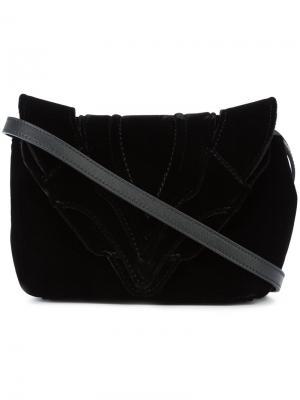 Сумка через плечо с декоративной строчкой Elena Ghisellini. Цвет: чёрный