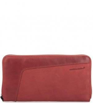 Кожаный кошелек с четырьмя отделами для купюр aunts & uncles. Цвет: красный
