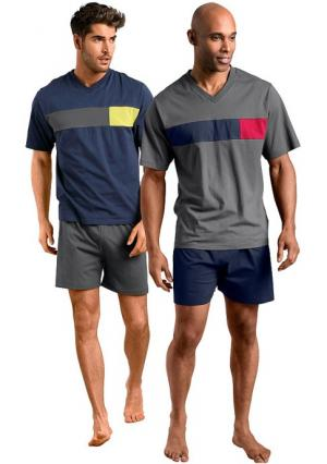 Пижама, 2 штуки LE JOGGER. Цвет: темно-синий+серый
