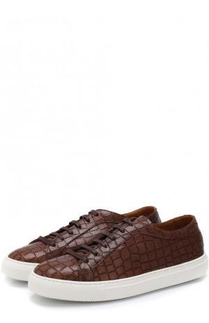 Кожаные кеды на шнуровке с тиснением Fratelli Rossetti. Цвет: коричневый