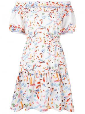 Платье с оборками и открытыми плечами Peter Pilotto. Цвет: белый