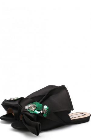 Атласные сабо с бантом и брошью No. 21. Цвет: черный
