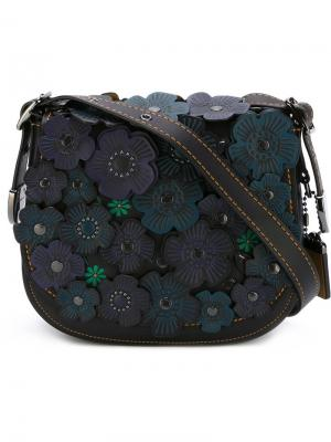 Седельная сумка с аппликацией Coach. Цвет: чёрный