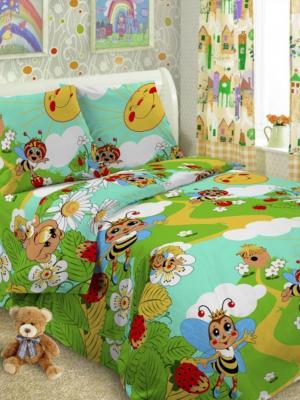 Детский комплект постельного Пчела, 1,5-спальный, наволочка 50*70, хлопок Letto. Цвет: голубой, желтый, зеленый