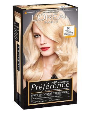 Стойкая краска для волос Preference, оттенок 01, Светло-светло-русый натуральный L'Oreal Paris. Цвет: светло-бежевый, черный