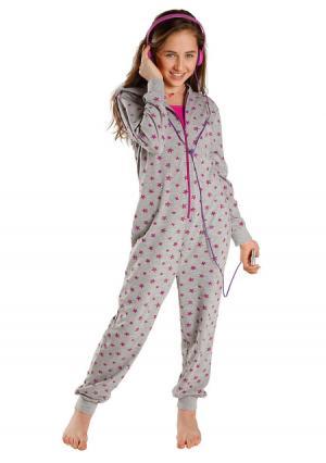 Пижама-комбинезон PETITE FLEUR. Цвет: серый меланжевый/ягодный