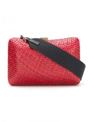 Straw clutch bag Serpui. Цвет: красный