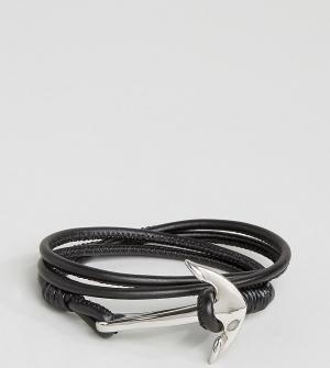 Seven London Черный кожаный браслет с якорем эксклюзивно для ASOS. Цвет: черный