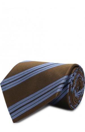 Шелковый галстук в полоску Lanvin. Цвет: зеленый