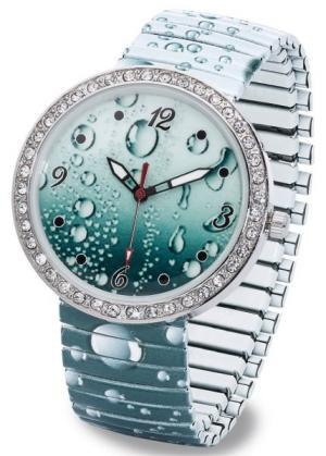 Часы с принтом (синий капельками) bonprix. Цвет: синий с капельками