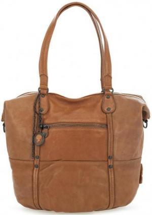 Вместительная кожаная сумка с длинными ручками aunts & uncles. Цвет: коричневый