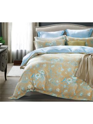 Постельное белье евро, фланель, 4 нав. (50х70, 70х70), цветы на бежево-горчичном Asabella. Цвет: бежевый, светло-голубой