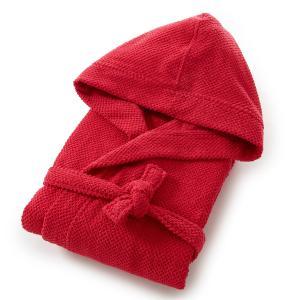 Халат с капюшоном женский из чистого хлопка 350 г/м² La Redoute Interieurs. Цвет: малиновый