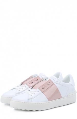Кожаные кроссовки Open с лаковой цветной вставкой Valentino. Цвет: светло-розовый