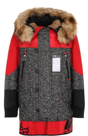 Шерстяная парка на молнии с меховой отделкой капюшона Junya Watanabe. Цвет: красный