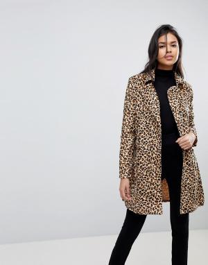 Parisian Пальто с леопардовым принтом и поясом. Цвет: коричневый