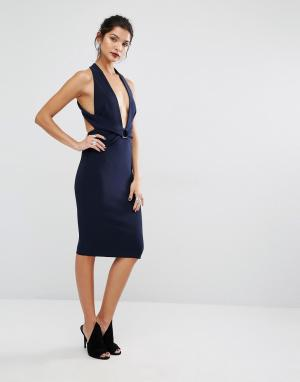 Bec & Bridge Платье с лямкой через шею Winkworth. Цвет: темно-синий