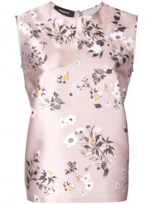 Блузка с цветочным принтом Rochas. Цвет: телесный