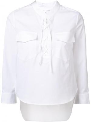 Рубашка с нагрудным карманом Veronica Beard. Цвет: белый