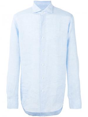 Рубашка с косым воротником Alessandro Gherardi. Цвет: синий