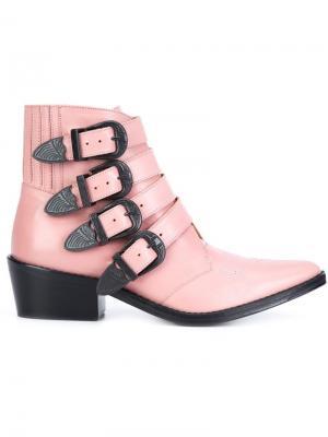Ботинки по щиколотку с пряжками Toga. Цвет: розовый и фиолетовый