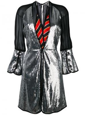 Платье со вставкой металлик Marco De Vincenzo. Цвет: металлический