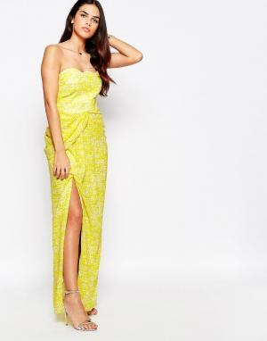 VLabel London Платье макси бандо с разрезом спереди Hook. Цвет: желтый