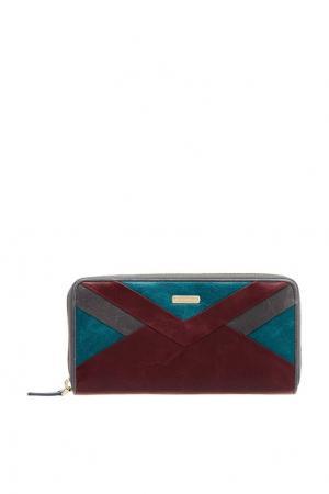 Кожаное портмоне с цветным дизайном Eleganzza. Цвет: multicolor