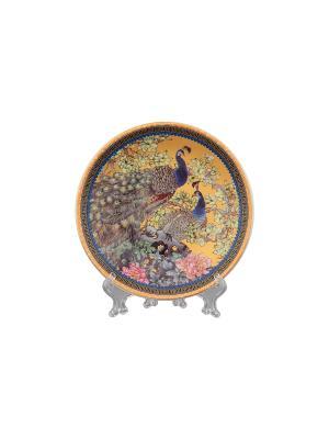 Тарелка декоративная Павлин золотой Elan Gallery. Цвет: золотистый, коричневый, розовый, синий