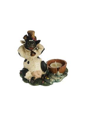 Подсвечник Корова черная Elff Ceramics. Цвет: черный, коричневый, белый