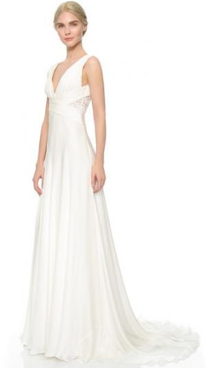 Шифоновое вечернее платье с защипами Theia. Цвет: оттенок белого