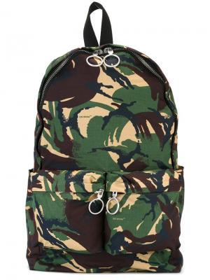 Камуфляжный рюкзак на молнии Off-White. Цвет: коричневый