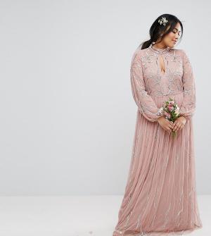 Maya Plus Платье макси с цветочной вышивкой пайетками и юбкой из тюля. Цвет: фиолетовый