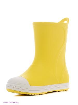 Резиновые сапоги CROCS. Цвет: желтый, белый