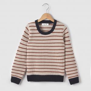Пуловер в полоску с круглым вырезом, 3-12 лет R édition. Цвет: серый/в полоску