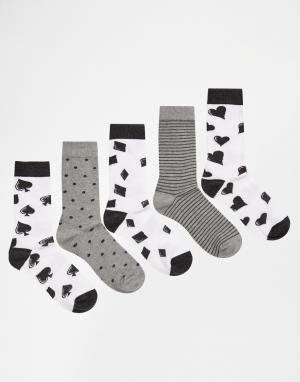 Urban Eccentric 5 пар носков с принтом. Цвет: мульти
