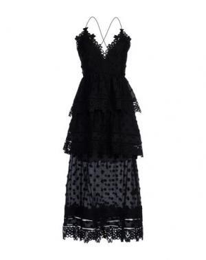 Платье длиной 3/4 SELF-PORTRAIT. Цвет: черный